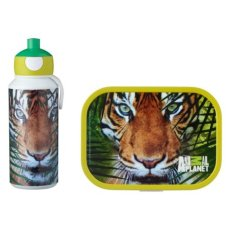 Botella de bebida y lonchera Animal Planet Tiger Green
