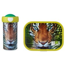 Taza de la escuela y lonchera Animal Planet Tiger Green