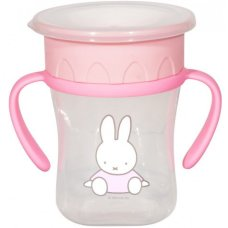 Vaso antifugas Miffy 360° con asas 250ml rosa